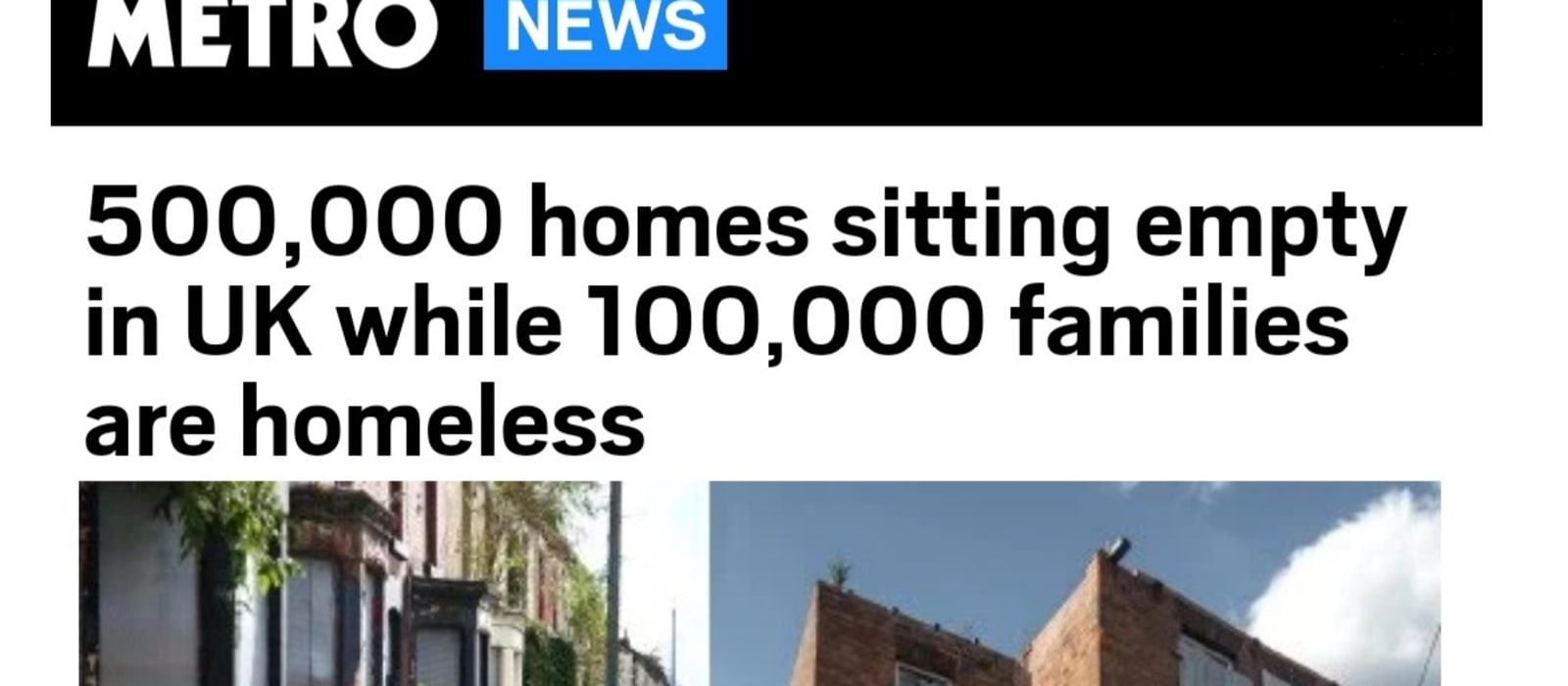 Metro features powerful examination of rising empty homes numbers as housing crisis and pandemic worsen